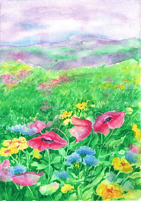 Poppies Field Painting - Field Of Flowers by Barbel Amos