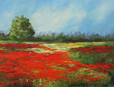 Poppies Field Painting - Field Of Poppies Viii by Torrie Smiley