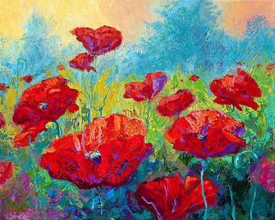 Spring Landscape Painting - Field Of Red Poppies by Marion Rose