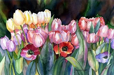 Spring Bulbs Painting - Field Of Tulips by Yolanda Koh