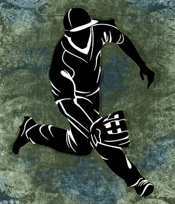Baseball Painting - Fielding The Ball On Textured Blue And Green Field by Elaine Plesser