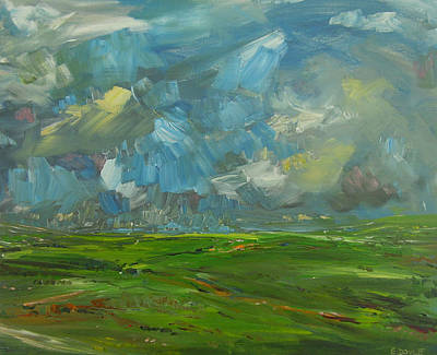 Fields And Clouds County Clare Print by Eamon Doyle