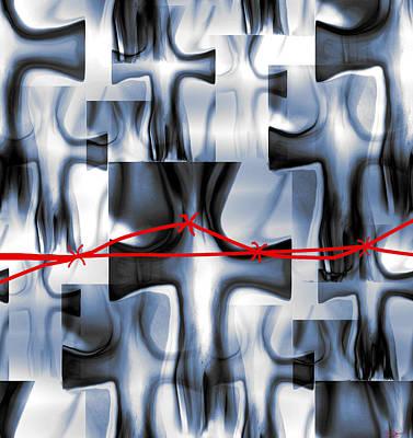 Man Digital Art - Fields Of Men In Red by Abstract Angel Artist Stephen K