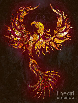 Phoenix Mixed Media - Fiery Phoenix by Robert Ball