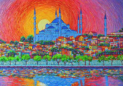 Fiery Sunset Over Blue Mosque Hagia Sophia In Istanbul Turkey Original by Ana Maria Edulescu