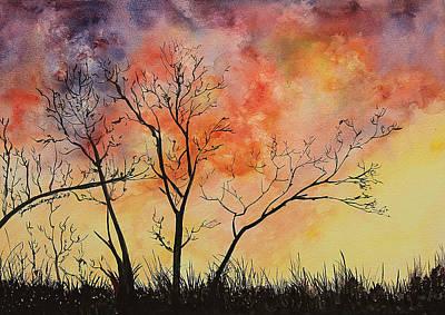 Fiery Sunset Painting Print by Janet Pancho Gupta