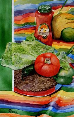 Green Beans Painting - Fiesta by Virginia Potter
