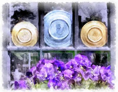 Fiestaware Photograph - Fiestaware Window Display With Pansies by Betty Denise