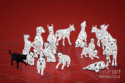 Puppy Digital Art - Fifteen Dalmations by Jutta Maria Pusl