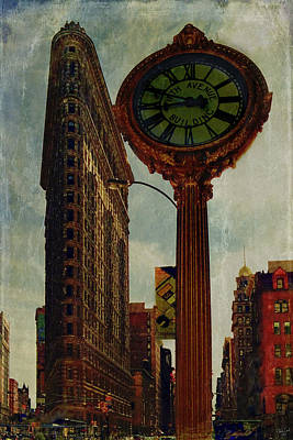 Fifth Avenue Clock And The Flatiron Building Print by Chris Lord