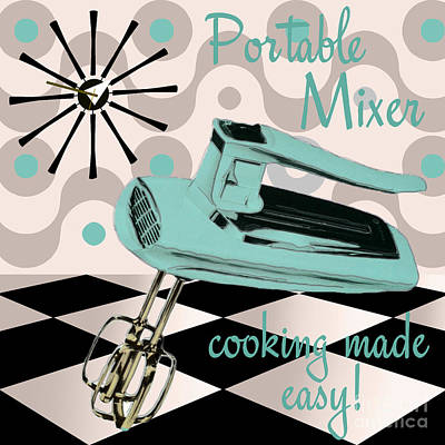 Mad Men Painting - Fifties Kitchen Portable Mixer by Mindy Sommers