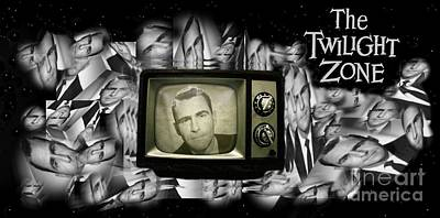 Rod Serling Drawing - Fifties Television Nostalgia by John Malone