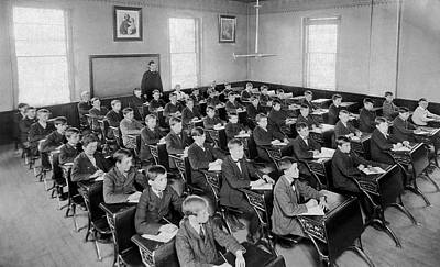 Fifty Boys In A Classroom Print by Underwood Archives