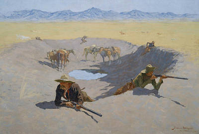 American Artist Painting - Fight For The Waterhole by Frederic Remington