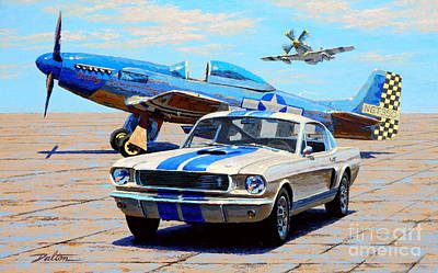 North American Print featuring the painting Fighter And Shelby Mustangs by Frank Dalton