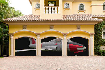 Fighter Jet In A Garage Print by Les Palenik