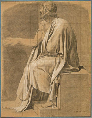 Drawing - Figure Study For The Death Of Socrates by Jacques-Louis David
