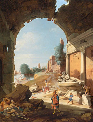 Bartholomeus Breenbergh Painting - Figures Among Ruins By The Tiber by Bartholomeus Breenbergh