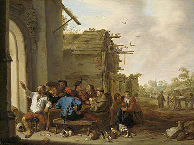 Cornelis Saftleven Painting - Figures Before A Village Inn by Cornelis Saftleven