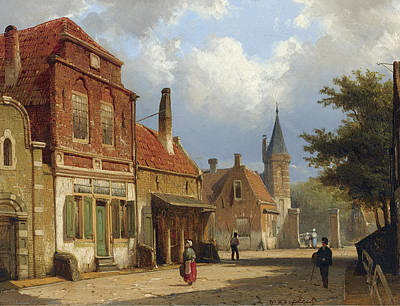 Painting - Figures In The Sunlit Streets Of A Dutch Town by Willem Koekkoek