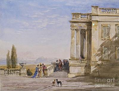 Lake Como Painting - Figures Outside by MotionAge Designs