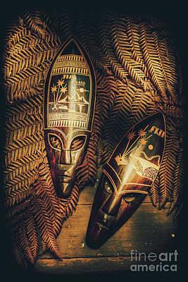 Warrior Goddess Photograph - Fijian Tiki Tribal Masks by Jorgo Photography - Wall Art Gallery