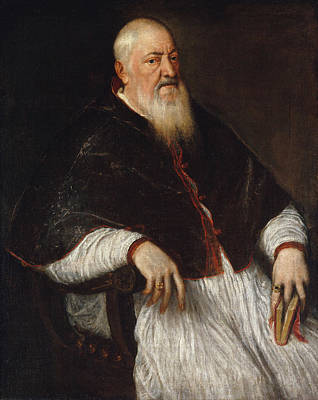 Beard Painting - Filippo Archinto, Archbishop Of Milan by Titian