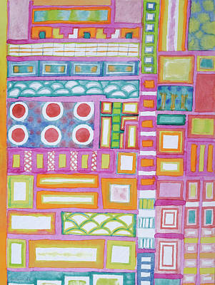 Grid Painting - Filled Pink Grid by Heidi Capitaine