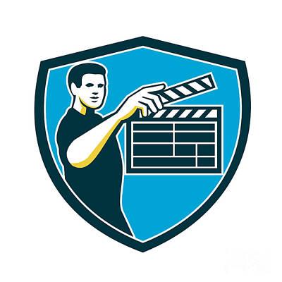 Film Maker Digital Art - Film Crew Clapperboard Shield Retro by Aloysius Patrimonio