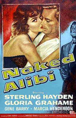 Painting - Film Noir Poster  Naked Alibi by R Muirhead Art