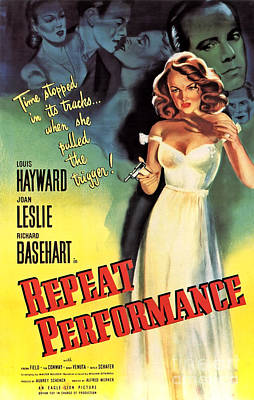 Painting - Film Noir Poster   Repeat Performance by R Muirhead Art