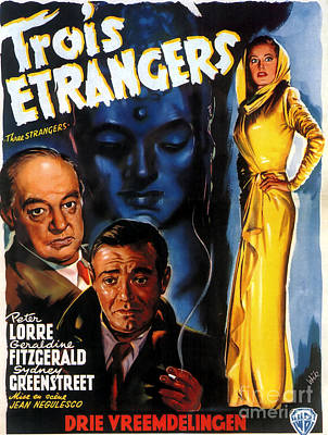 Painting - Film Noir Poster Three Strangers by R Muirhead Art