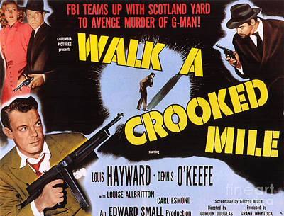 Painting - Film Noir Poster   Walk A Crooked Mile by R Muirhead Art