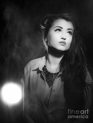 Long Necklace Photograph - Film Noir Style Woman In Spotlight by Amanda And Christopher Elwell