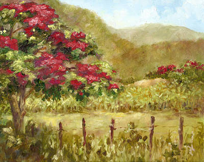 Flamboyan Tree Painting - Finca De Platanos by Monica Linville