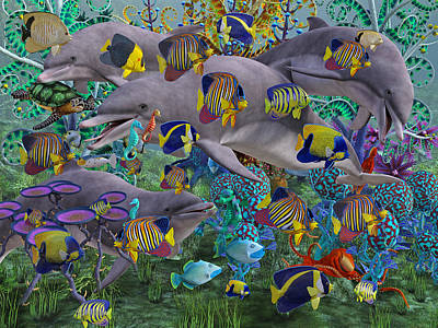 Dolphin Digital Art - Find The Sea Dragon by Betsy C Knapp