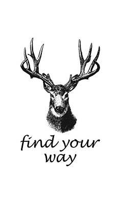 Deer Digital Art - Find Your Way by Magdalena Raszewska