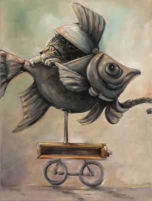 Fine Art Cat-fish Wagon Original by Kim Guthrie