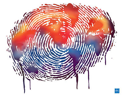 Finger Print Map Of The World Print by Sassan Filsoof