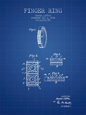 Finger Ring Patent From 1928 - Blueprint Print by Aged Pixel