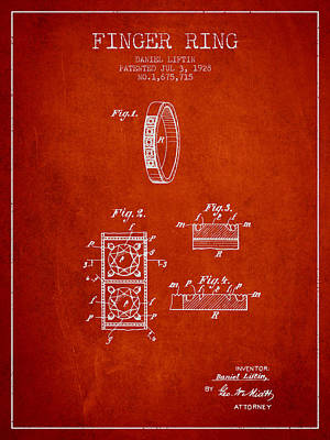 Cut Mixed Media - Finger Ring Patent From 1928 - Red by Aged Pixel