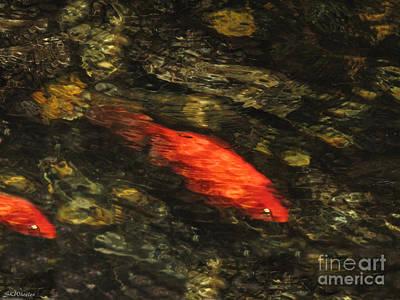 Goldfish Digital Art - Finish Line by Sabrina K Wheeler
