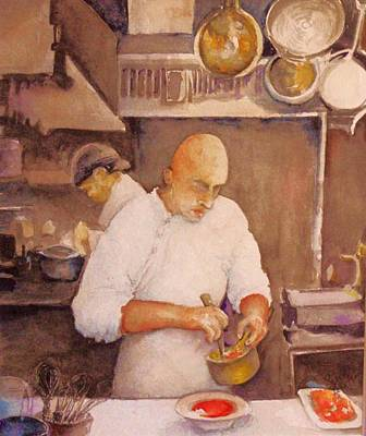 Behind The Scenes Painting - Finishing Touches                                    Watercolor  by Susan Eckstein