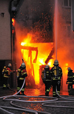 Fire - Burning House - Firefighters Print by Matthias Hauser