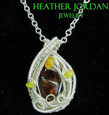 Sterling Silver Wrapped Pendant Jewelry - Fire Agate Pendant In Sterling Silver With Ethiopian Welo Opals Fragpss1 by Heather Jordan