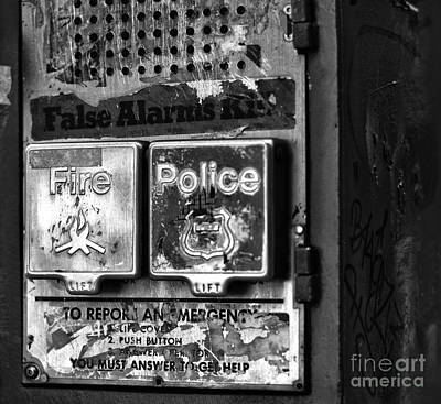 Police Art Photograph - Fire And Police Pull Box Mono by John Rizzuto