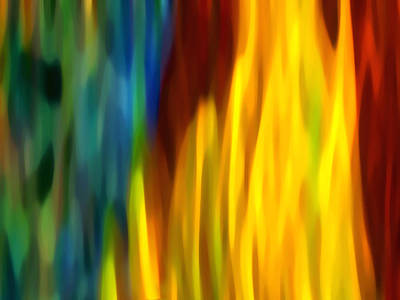 Abstract Movement Painting - Fire And Water by Amy Vangsgard