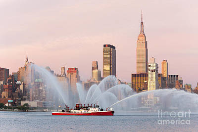 Fire Boat And Manhattan Skyline I Print by Clarence Holmes