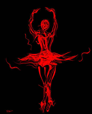 Abstract Movement Drawing - Fire Dancer Ballerina by Abstract Angel Artist Stephen K
