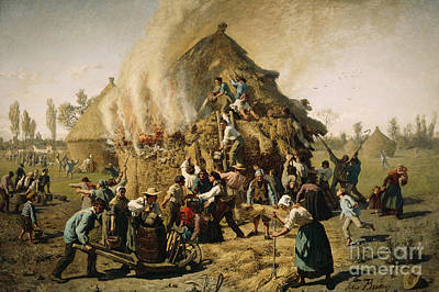 Barrel Painting - Fire In A Haystack, 1856 by Jules Breton